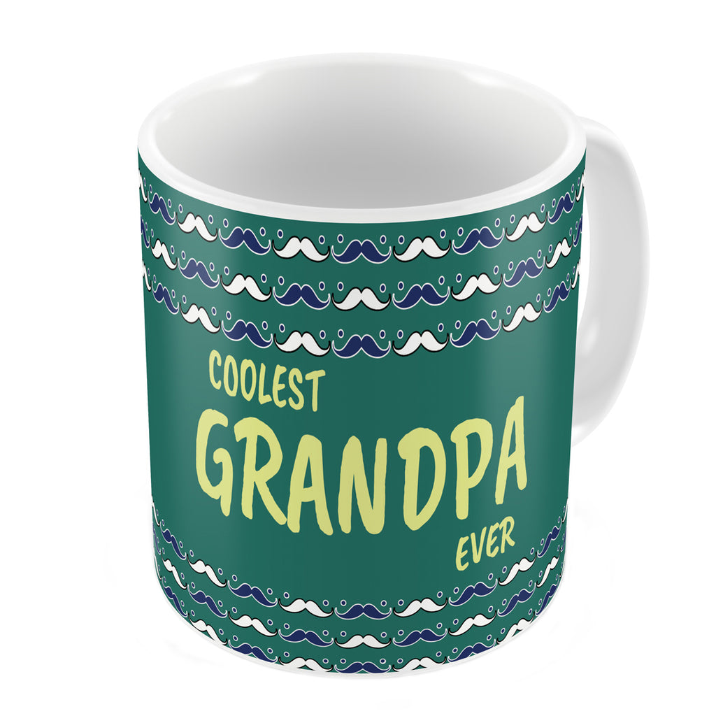 Indigifts Coolest Grandpa Ever Quote Seamless Moustache Retro Pattern Green Coffee Mug