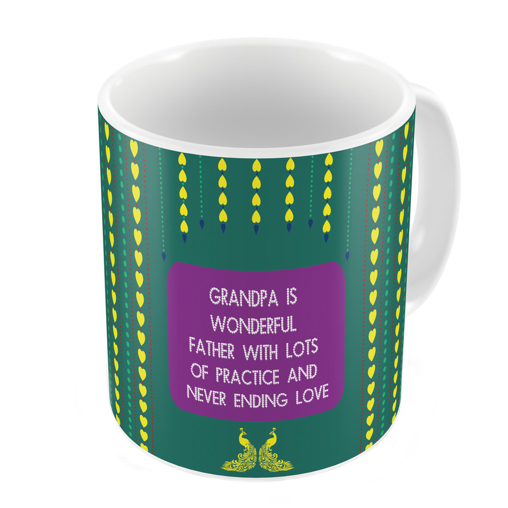 Grandpa is Wonderful with Lots of Practice Quote Traditional Folk Art Print Green Coffee Mug