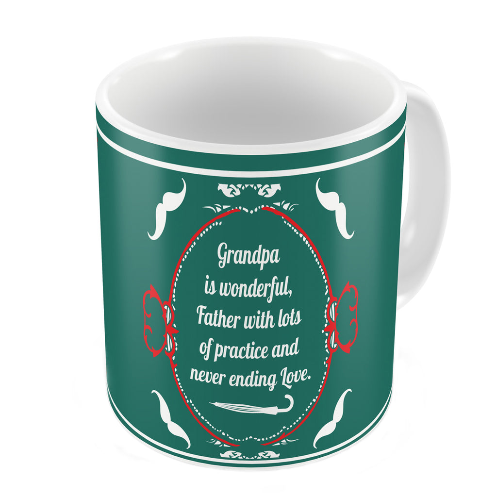 Grandpa is Wonderful with Lots of Practice Quote Vintage Design Print Green Coffee Mug