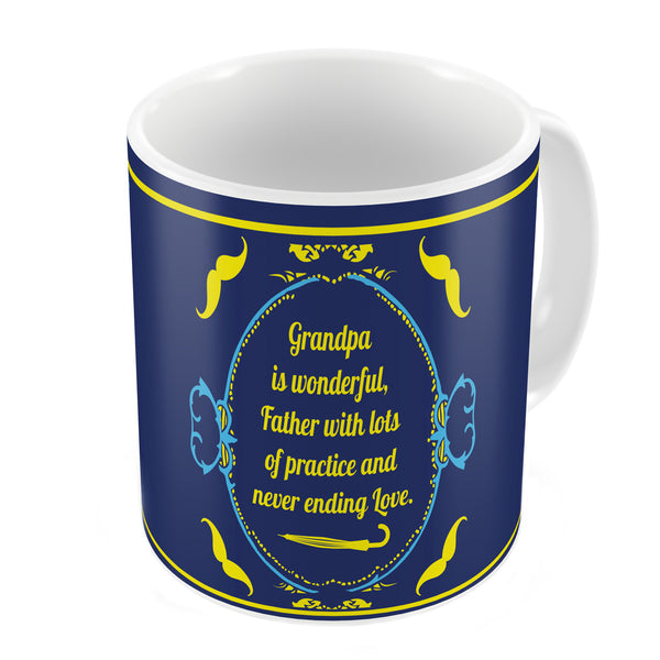 Grandpa is Wonderful Quote Vintage Classical Design Print Blue Coffee Mug