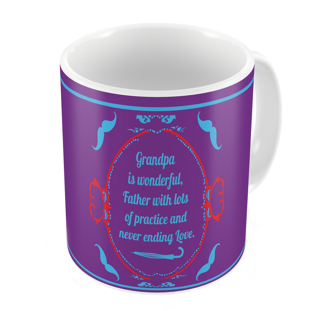 Indigifts Grandpa is Wonderful Quote Vintage Classical Design Print Purple Coffee Mug