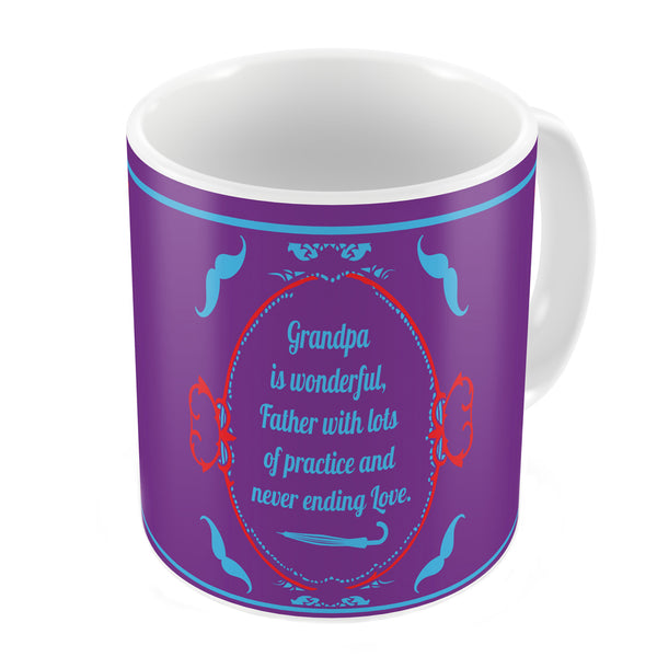 Grandpa is Wonderful Quote Vintage Classical Design Print Purple Coffee Mug