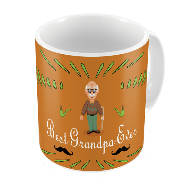 Best Grandpa Ever Quote Comic Folk Style Orange Coffee Mug