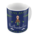 Indigifts Best Grandpa Ever Quote Comic Folk Style Blue Coffee Mug