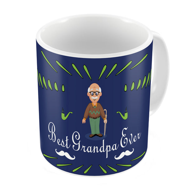 Best Grandpa Ever Quote Comic Folk Style Blue Coffee Mug