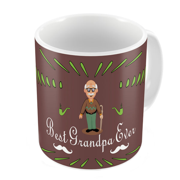 Best Grandpa Ever Quote Comic Folk Style Brown Coffee Mug