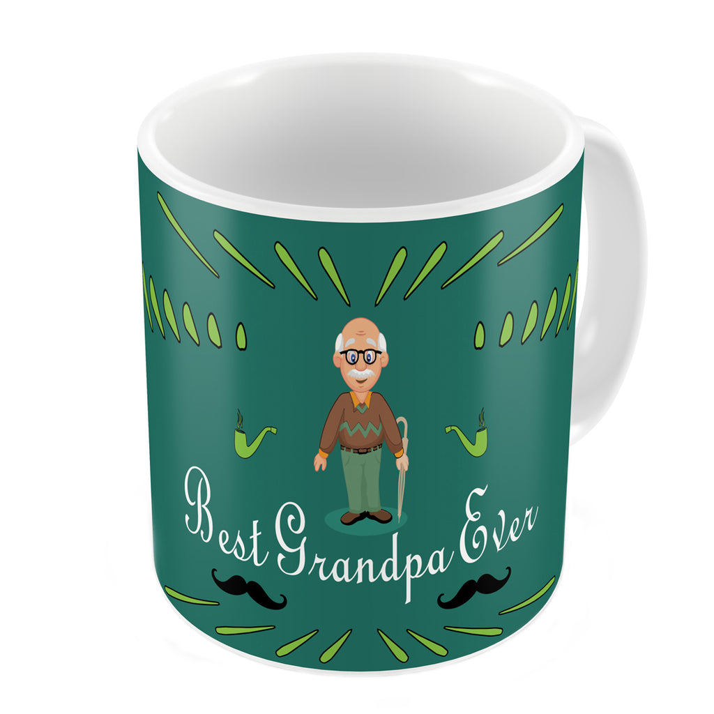 Best Grandpa Ever Quote Comic Folk Style Green Coffee Mug