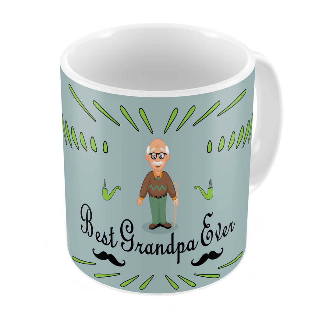 Best Grandpa Ever Quote Comic Folk Style Grey Coffee Mug