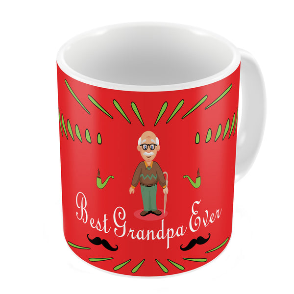 Best Grandpa Ever Quote Comic Folk Style Red Coffee Mug
