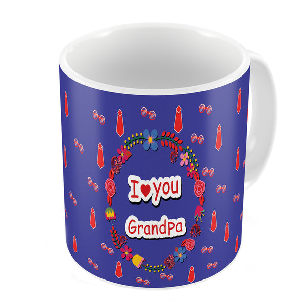 I Love You Grandpa Quote Seamless Tie Pattern Blue Coffee Mug