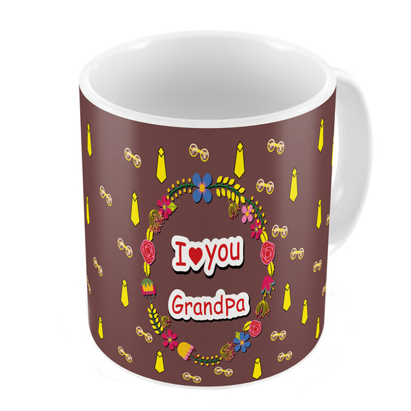 I Love You Grandpa Quote Seamless Tie Pattern Brown Coffee Mug