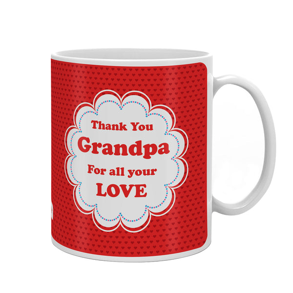 Thank You Grandpa Quote Seamless Heart Pattern Print Red Coffee Mug