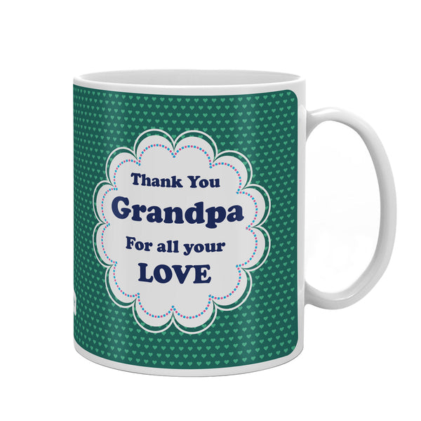 Thank You Grandpa Quote Seamless Heart Pattern Print Green Coffee Mug