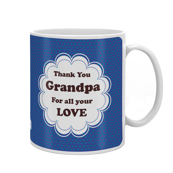 Thank You Grandpa Quote Seamless Heart Pattern Print Blue Coffee Mug