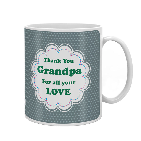 Thank You Grandpa Quote Seamless Heart Pattern Print Grey Coffee Mug