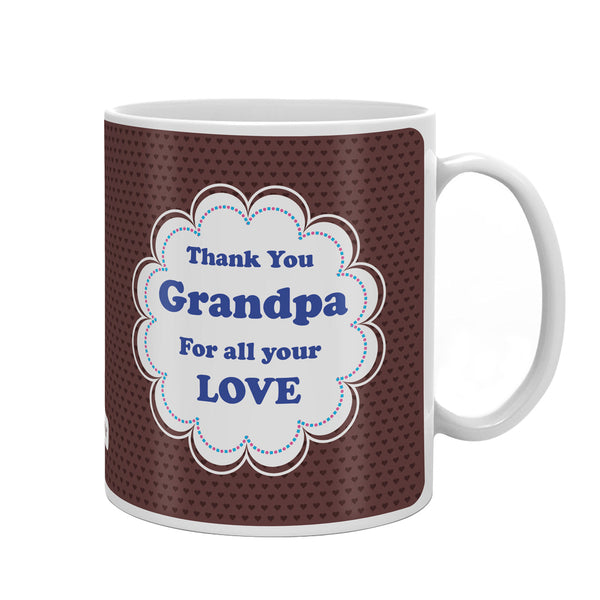Thank You Grandpa Quote Seamless Heart Pattern Print Brown Coffee Mug
