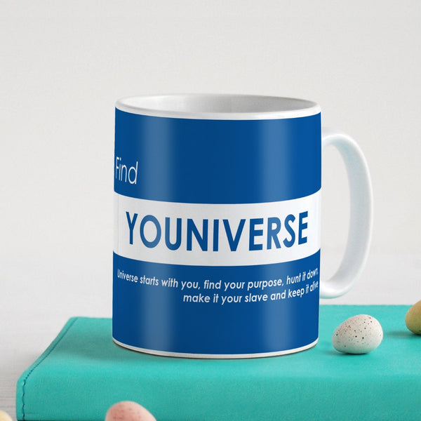 Funny Coffee Mugs | Find Youniverse Printed Blue Coffee Mug 330 ml | Funny Gifts for Men, Coffee Mug for Friend, Unique Gift Idea, Birthday Gift for Girls/Boy/Friends/Roommate