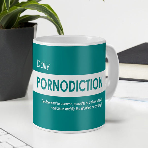 Funny Coffee Mugs for Friend | Daily Pornodiction Quote Green Ceramic Coffee Mug 330 ml | Unique Birthday Gift for Girl/Boy, Sarcastic Quotes Printed Mug, Gift for Roommate Girl/Roomies