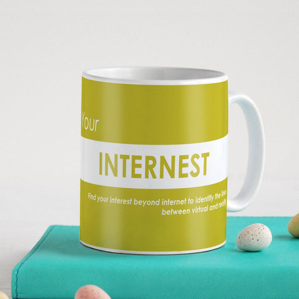 Funny Coffee Mugs | Your Internest Printed Yellow Ceramic Coffee Mug 330 ml | Funny Gifts for Men, Coffee Mug for Friend, Unique Gift Idea, Birthday Gift for Girls/Boy/Friends/Roommate
