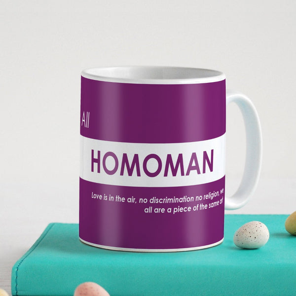 Funny Quotes Coffee Mugs | All Homoman Quote Purple Ceramic Coffee Mug 330 ml | Unique Printed Coffee Cup for Friend, Birthday Gift for Girl/Boy, Funny Farewell Gifts, Sarcastic Gifts