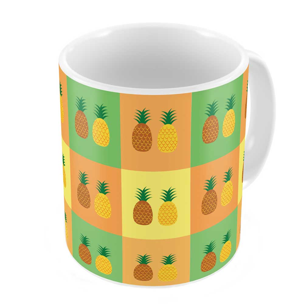 Pineapple Fruit on Colorful Checkered Background Coffee Mug
