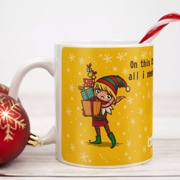 Christmas Elf holding Gifts Coffee Mug