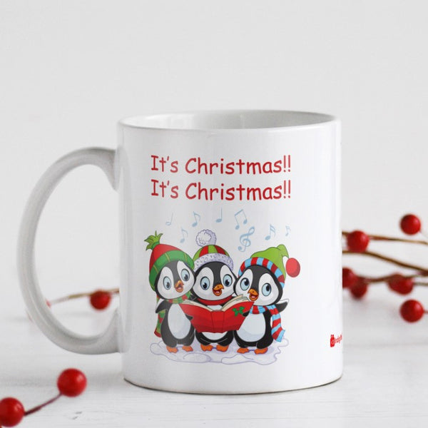 Trio Of Penguins Singing Christmas Carol Coffee Mug