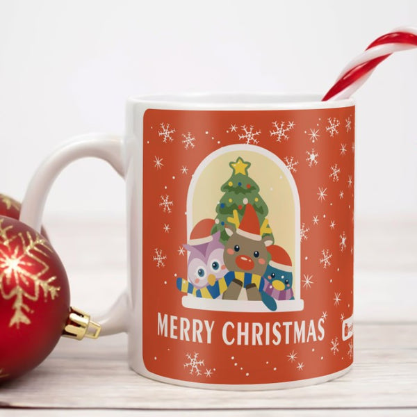 Cute Animals Looking Around for Santa Coffee Mug