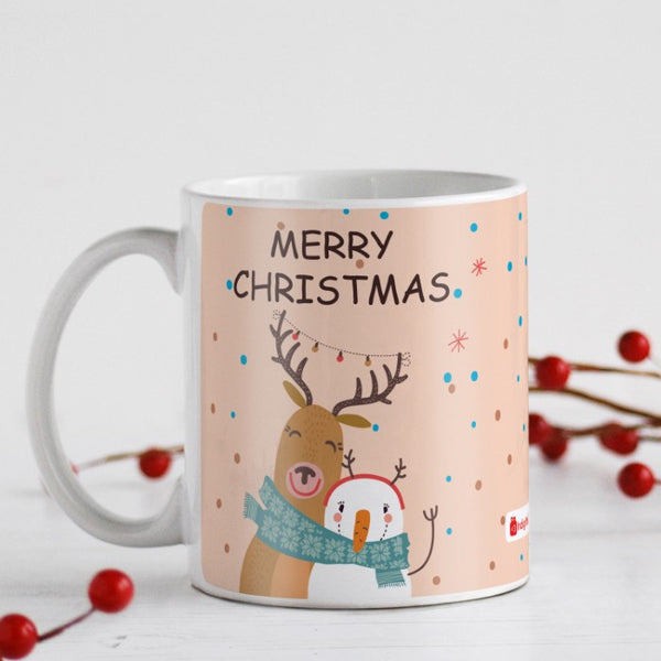 Snowman and Reindeer Hug Coffee Mug