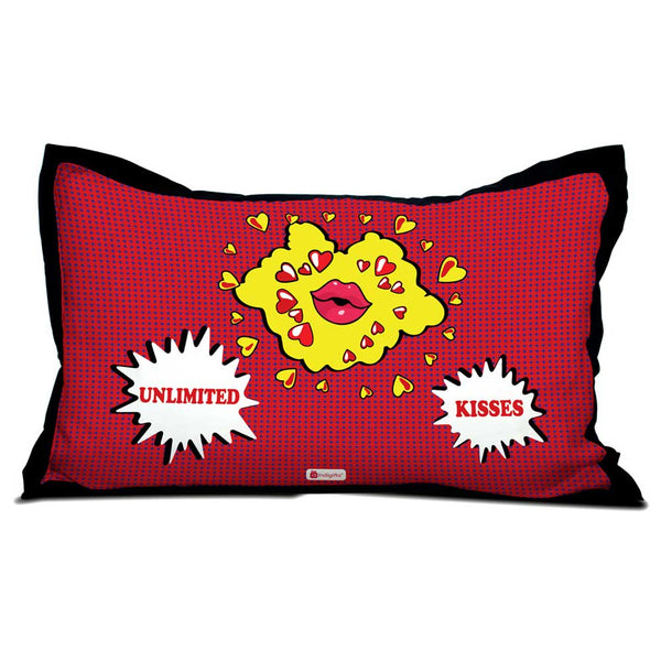 Unlimited Kisses Quote Pop Art Illustration of Lips and Kisses Red Pillow Cover