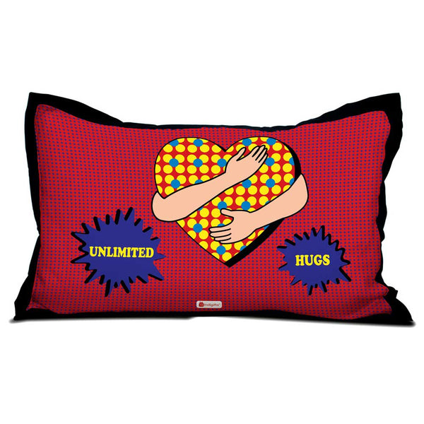 Unlimited Hugs Quote Heart Being Wrapped Around by Hands Red Pillow Cover