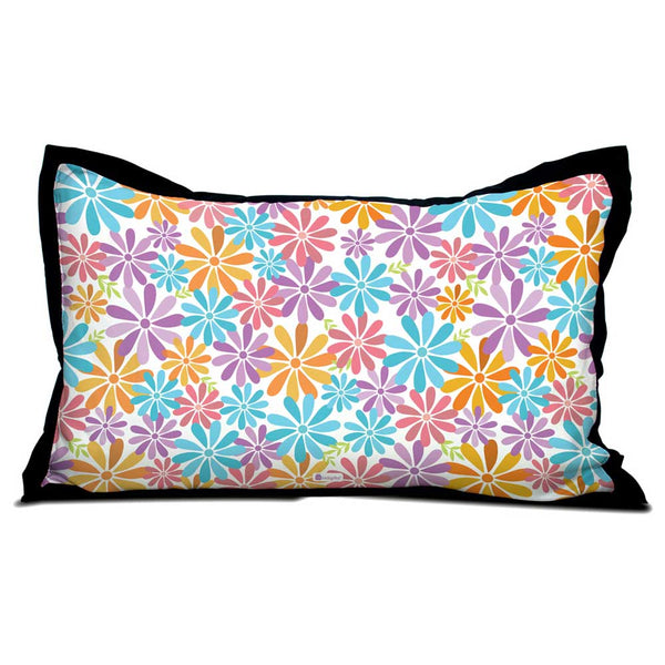 Colourful Summer Flowers Pattern Pillow Cover