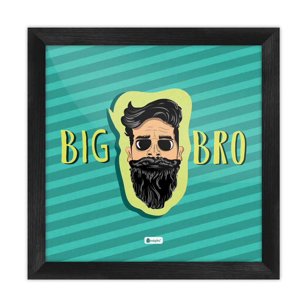 Bearded Brother's Face Hand Illustration Blue Poster Frame