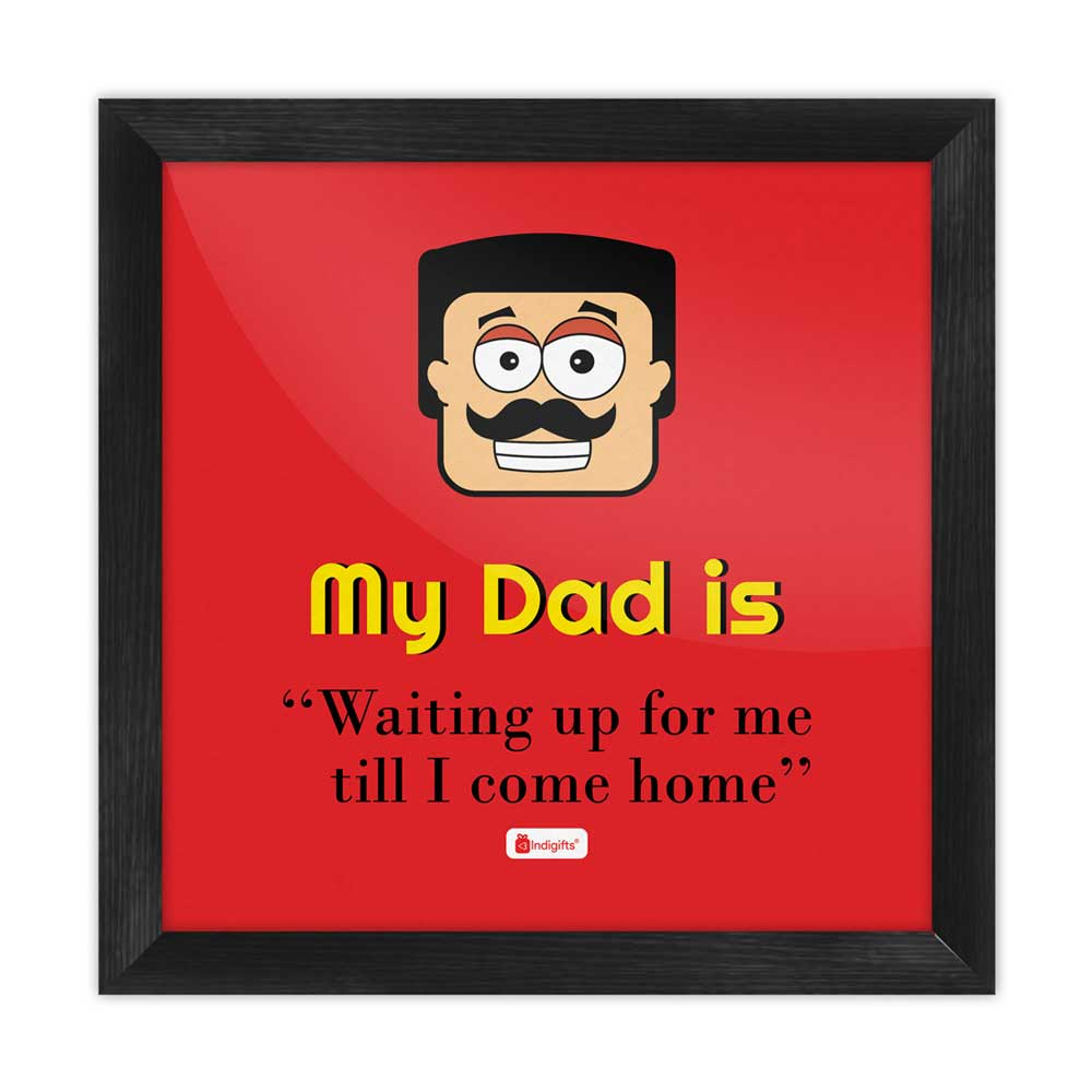 Indigifts Indian Dad Face Graphic Red Poster Frame