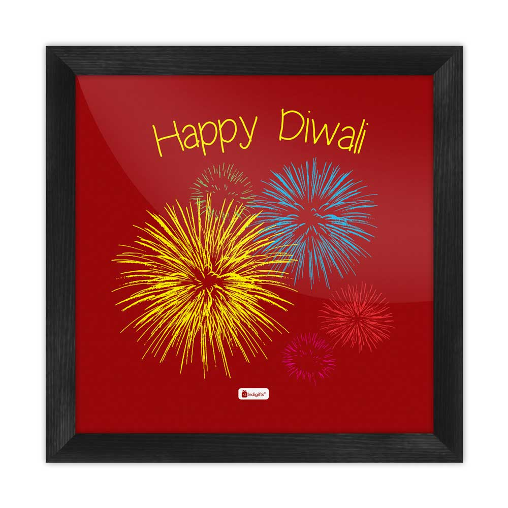Indigifts Illustration of Festive Firework Bursting in Different Colors  brown Poster Frame