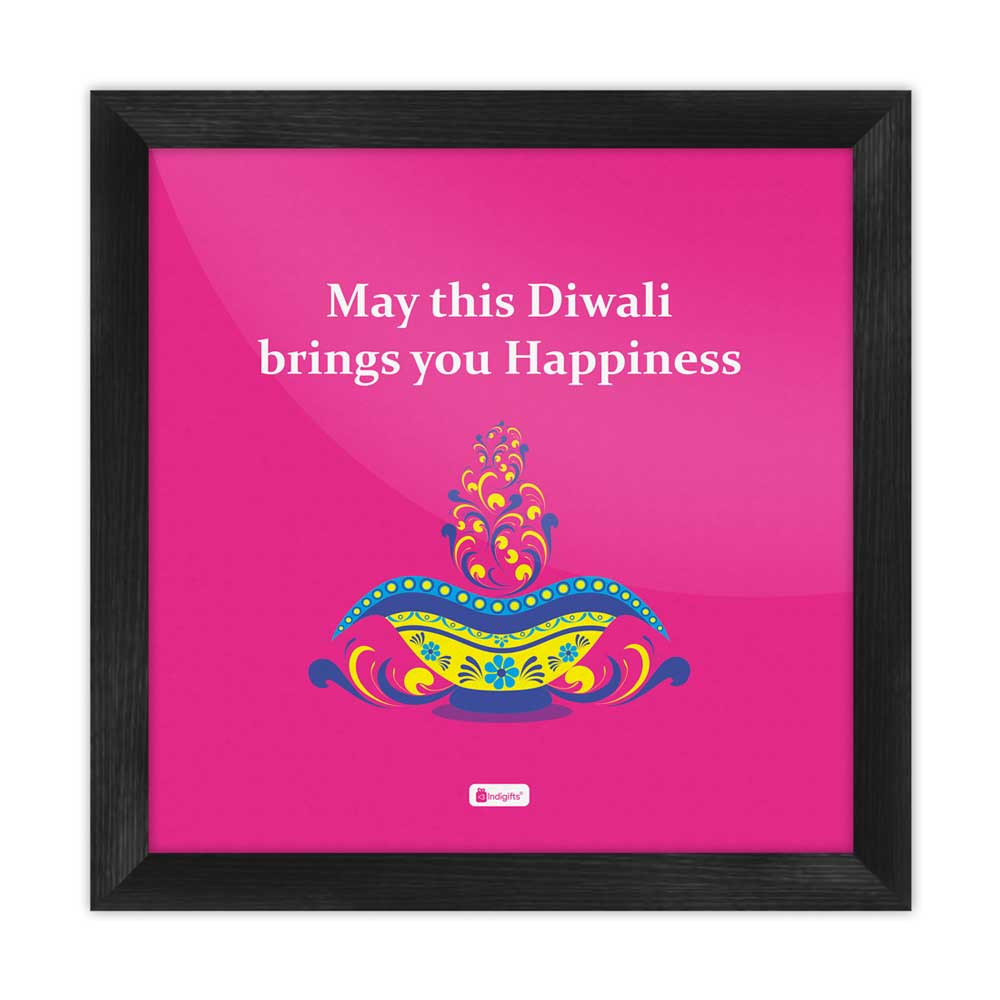 Illuminated Oil Diya Lamp with Colorful Floral Design  Pink Poster Frame