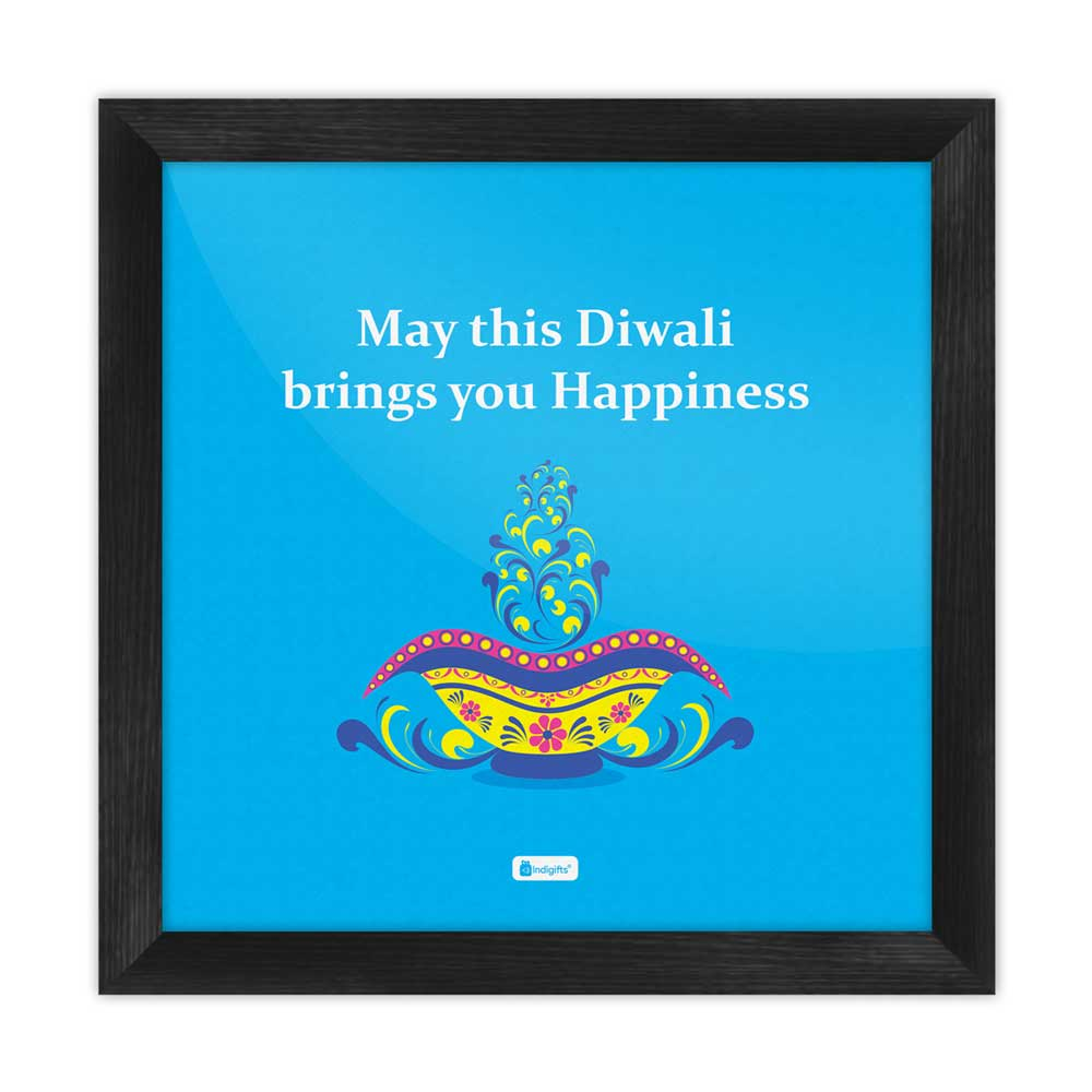 Illuminated Oil Diya Lamp with Colorful Floral Design Blue Poster Frame