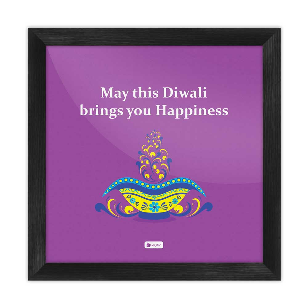 Indigifts Illuminated Oil Diya Lamp with Colorful Floral Design purple Poster Frame