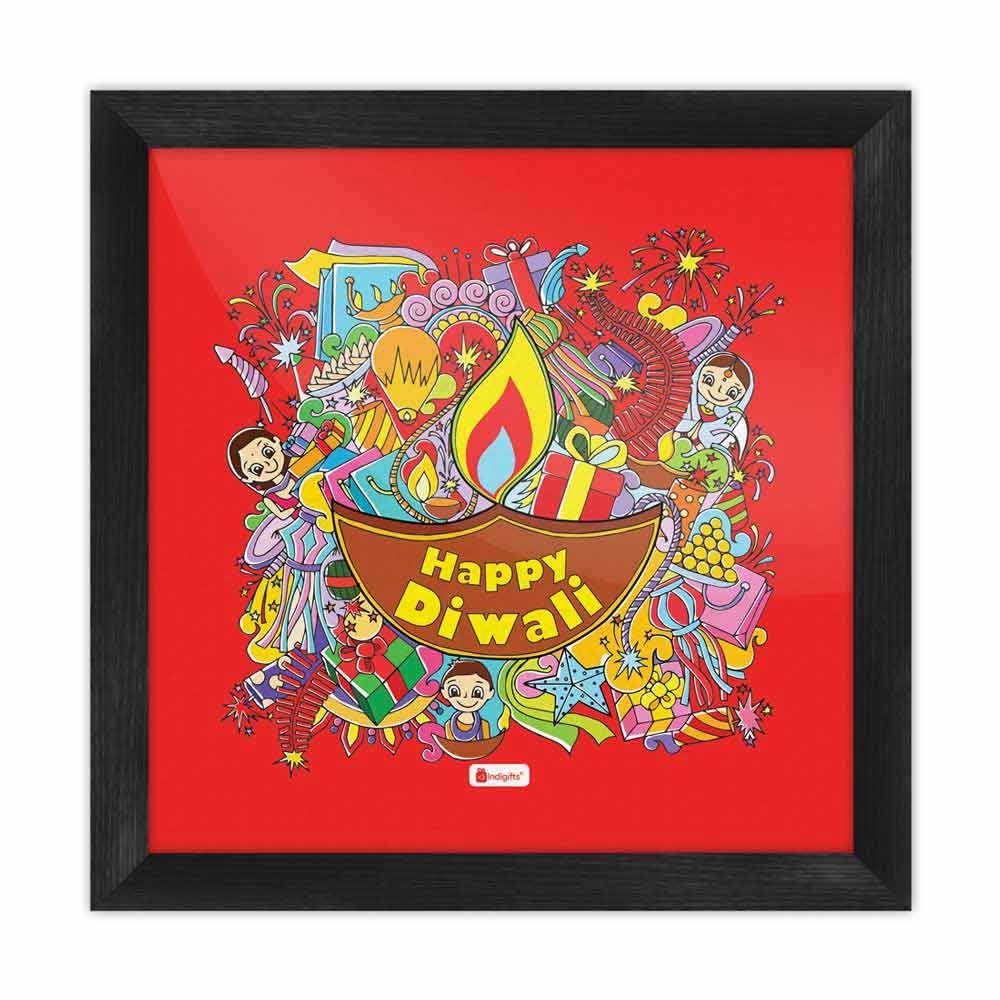 Indigifts A Collection of Traditional Diwali Motifs Gathered in a Festive Background Red Poster Frame