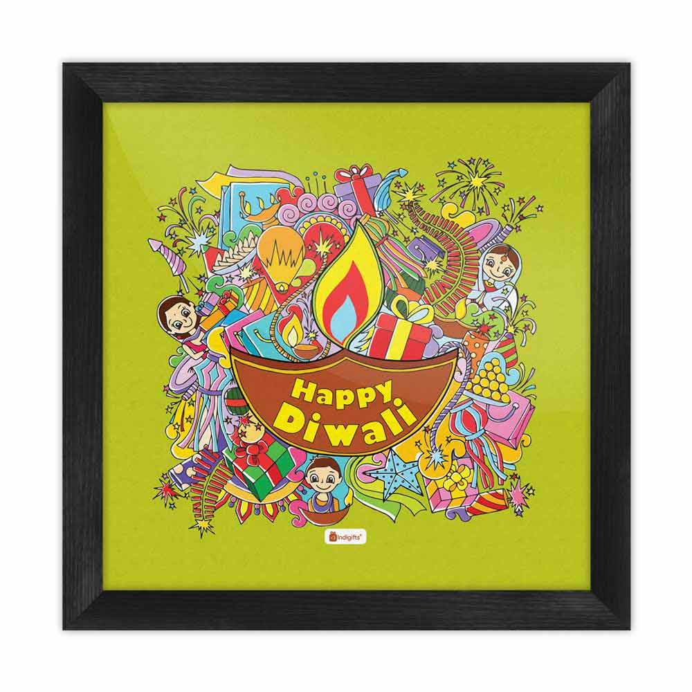 A Collection of Traditional Diwali Motifs Gathered in a Festive Background Green Poster Frame