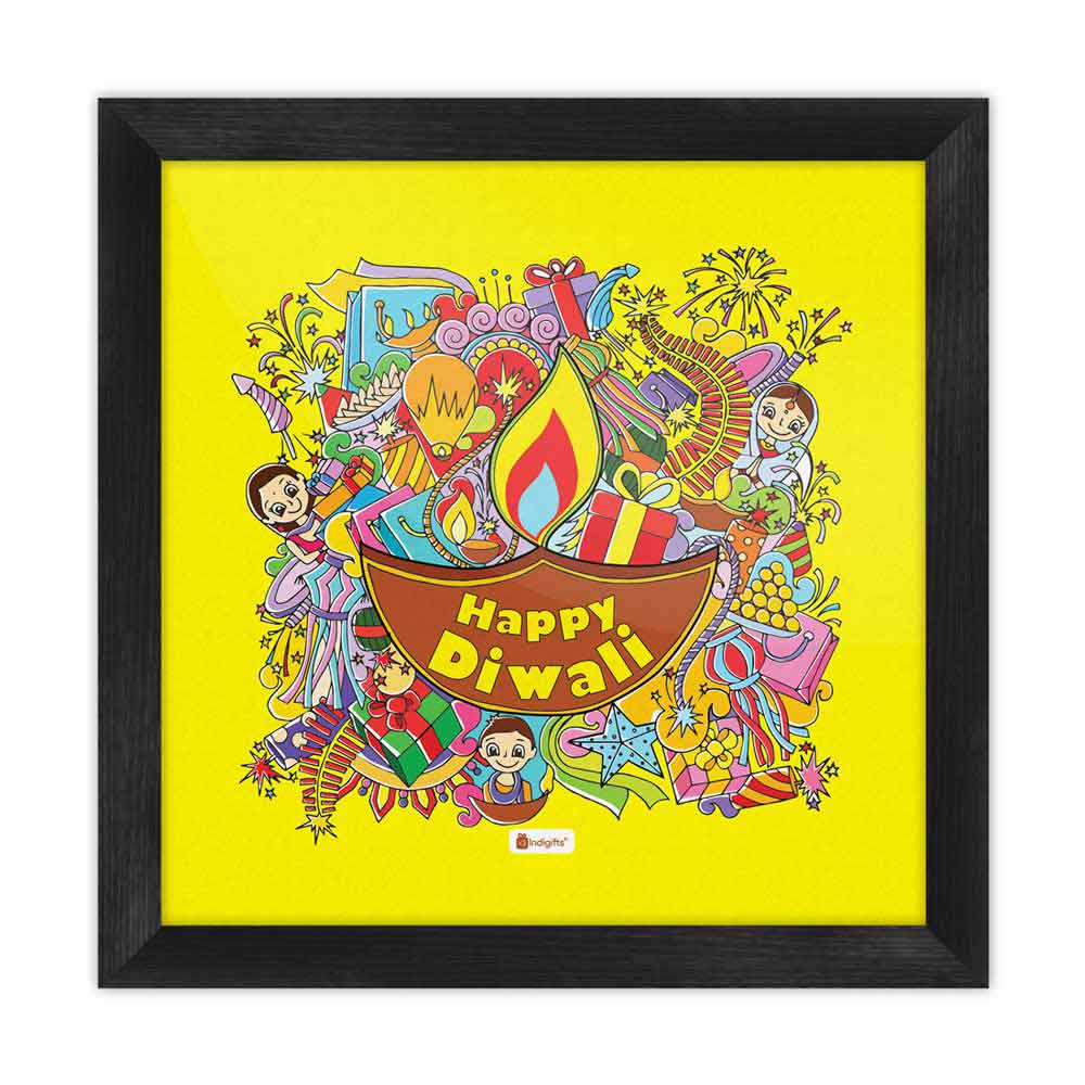 Indigifts A Collection of Traditional Diwali Motifs Gathered in a Festive Background Yellow Poster Frame
