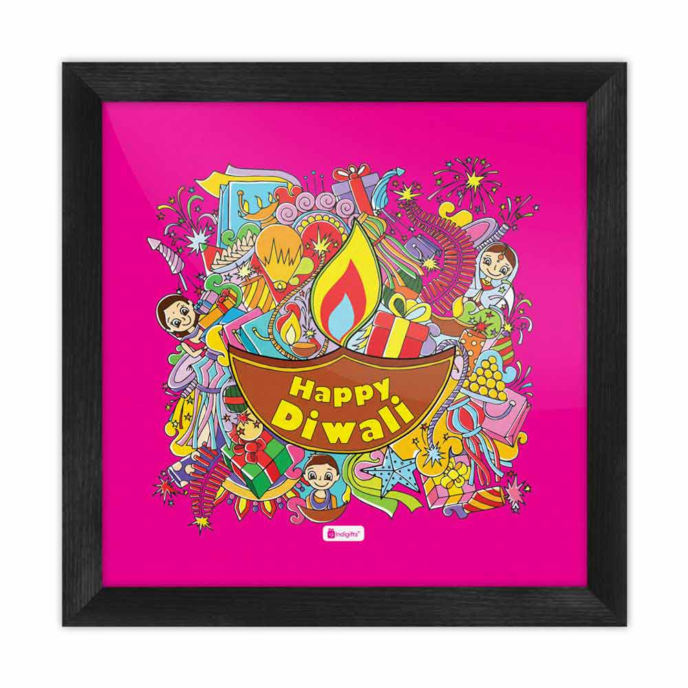 Indigifts A Collection of Traditional Diwali Motifs Gathered in a Festive Background Pink Poster Frame