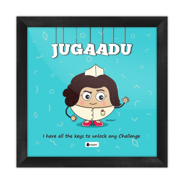 Jugaadu - I have all the keys to unlock any challenge Blue Poster Frame