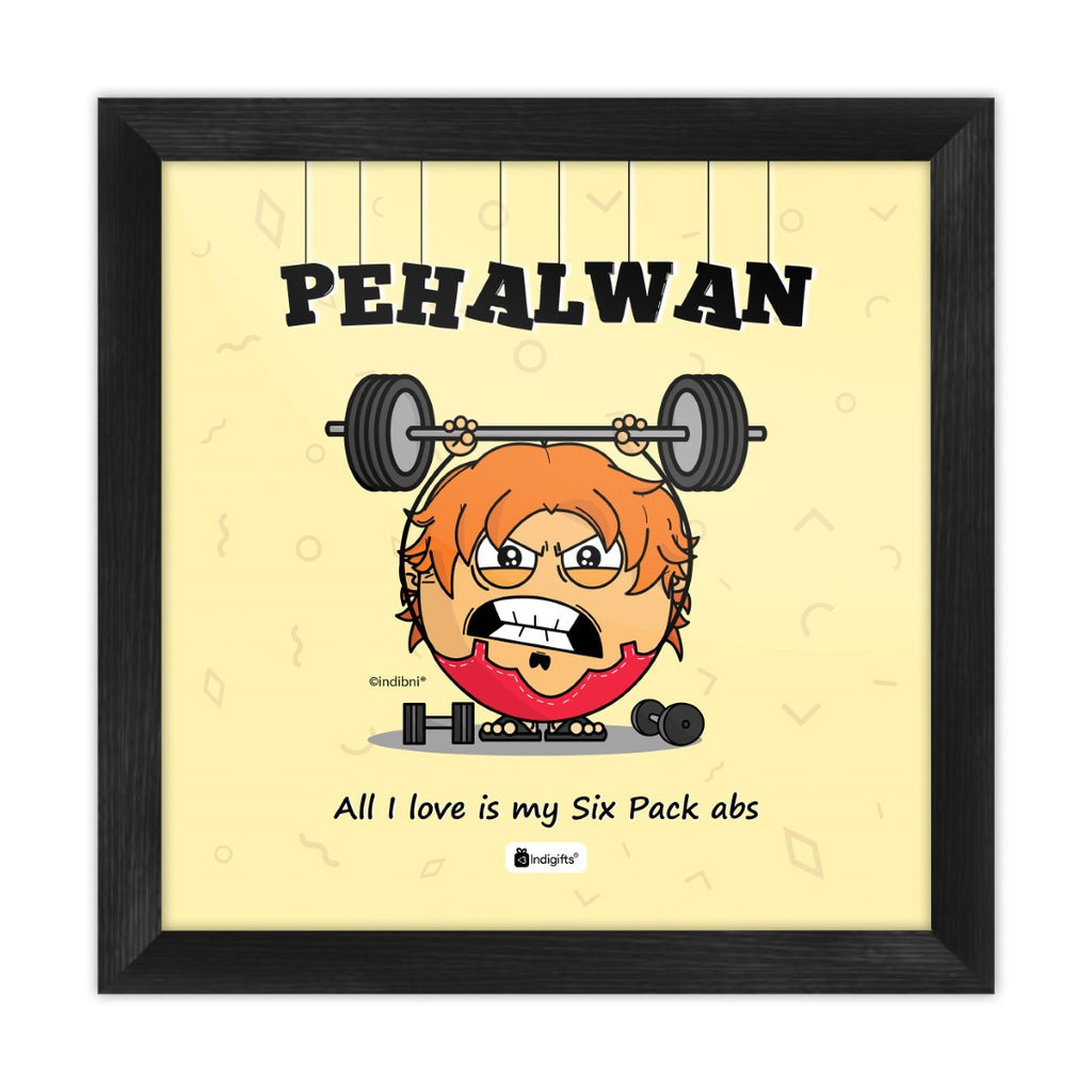 Pehalwan - I love six pack abs Yellow Poster Frame