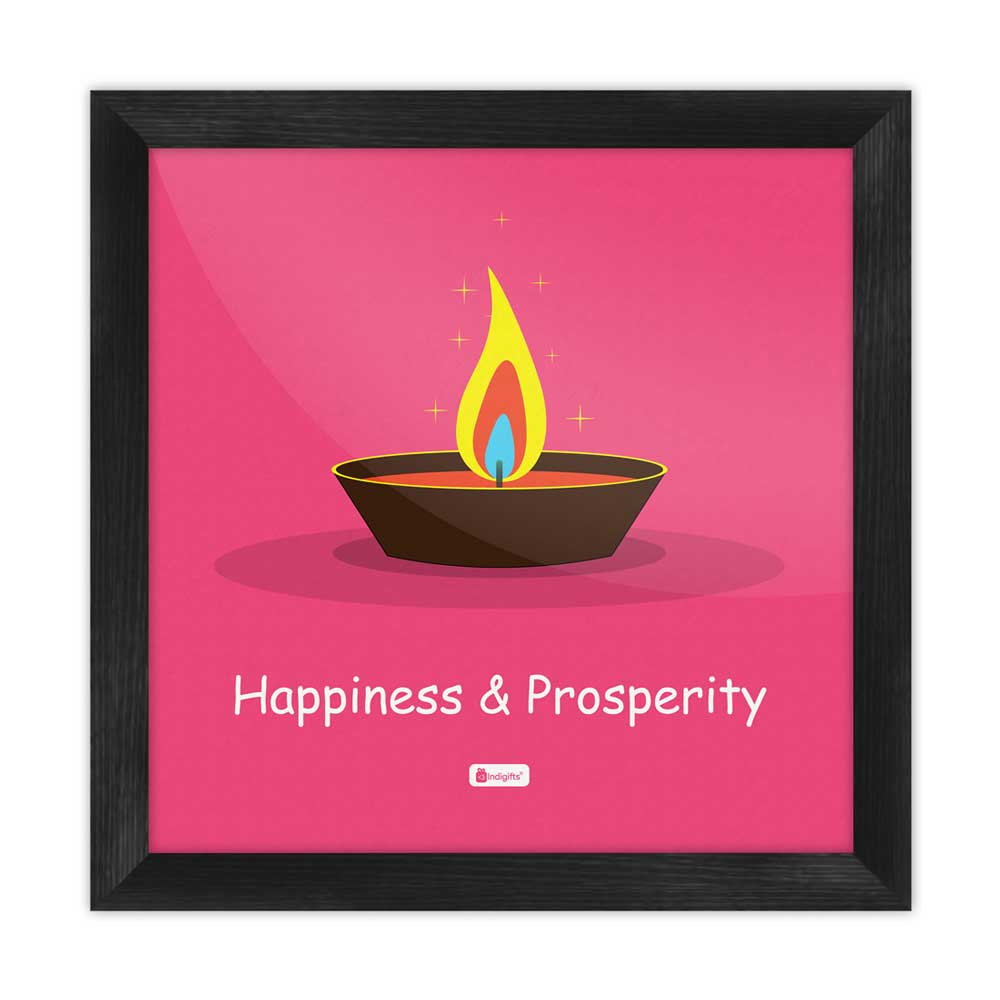 Indigifts Illustration of Burning Oil Clay Diya Lamp Pink Poster Frame