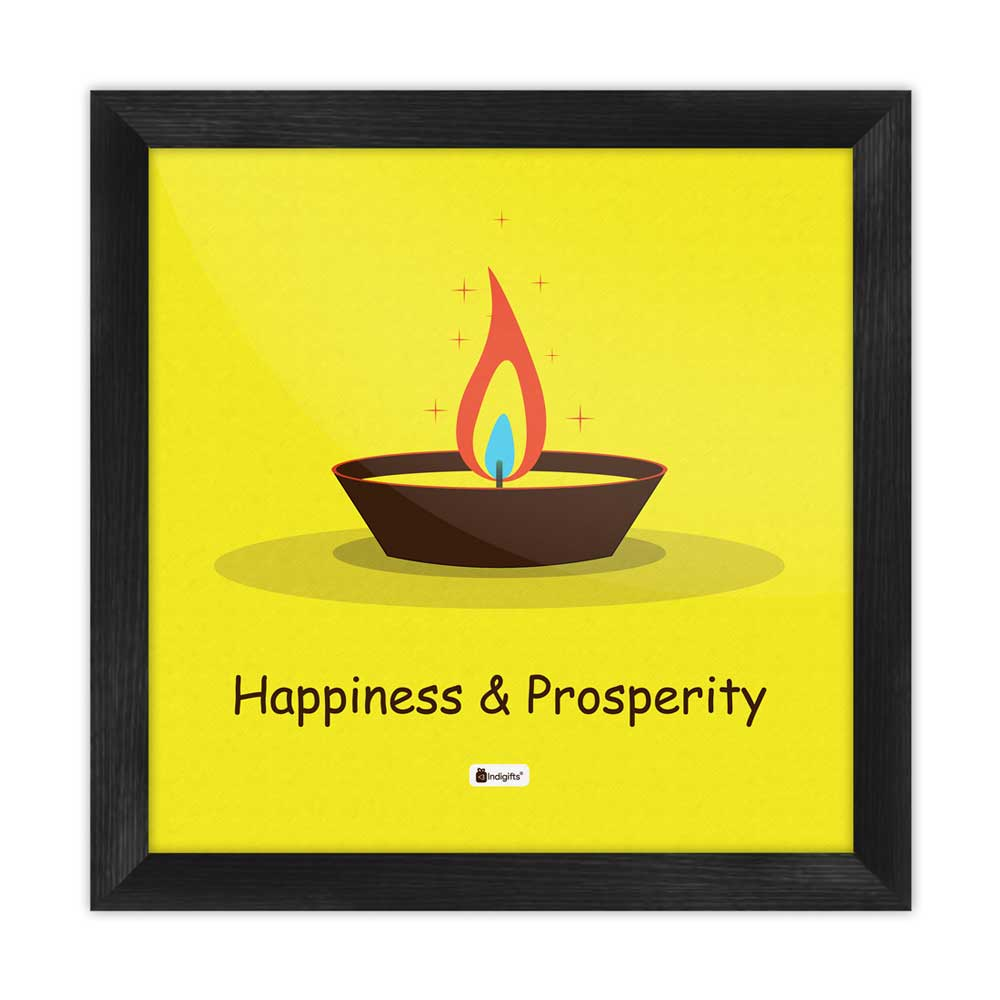 Illustration of Burning Oil Clay Diya Lamp Yellow Poster Frame
