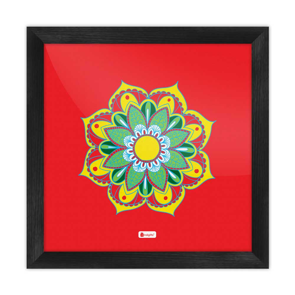 Indigifts Illustration of Boho-Hippie Floral Mandala Print Red Poster Frame