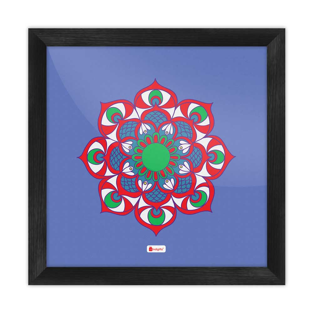 Indigifts Illustration of Boho-Hippie Floral Mandala Print Blue Poster Frame
