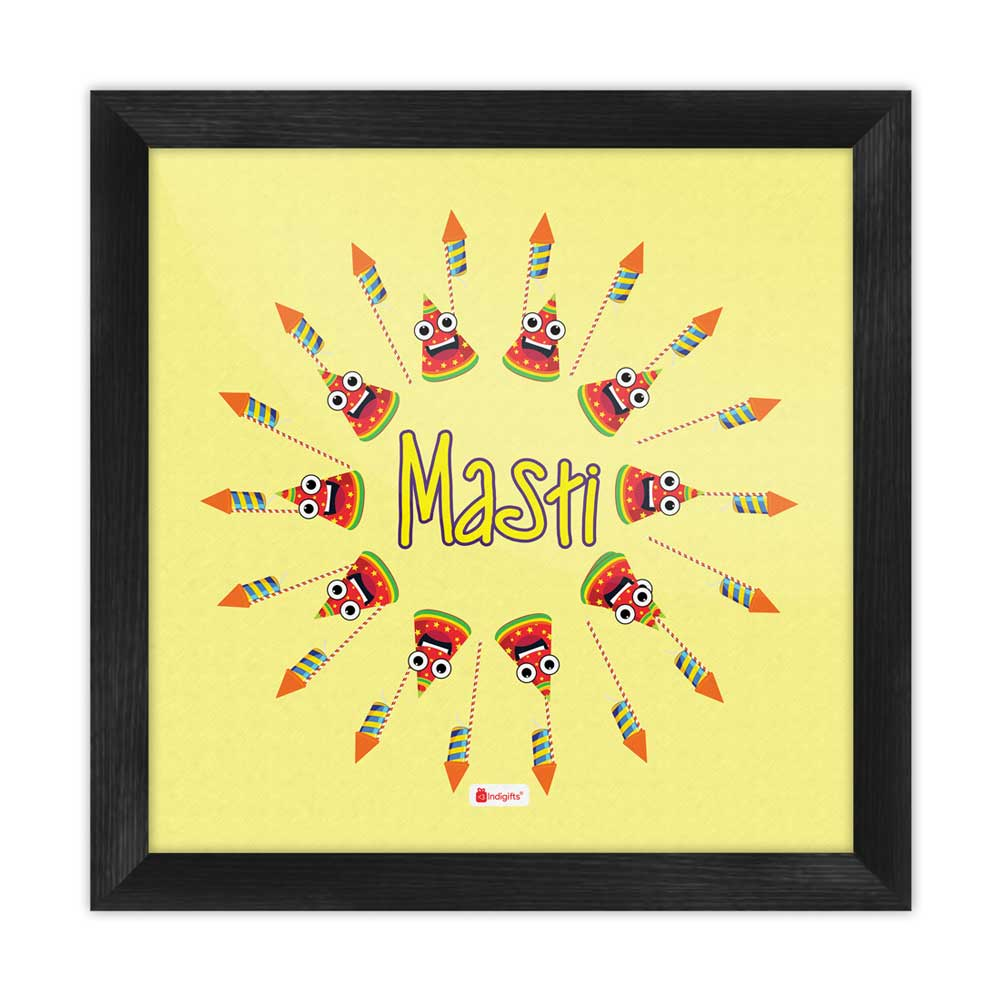 Cartoonish Firework Rocket in Circular Pattern Cream Poster Frame