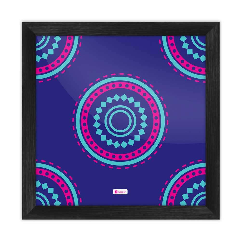 Decorative Colorful Round Mandala Print Blue Poster Frame